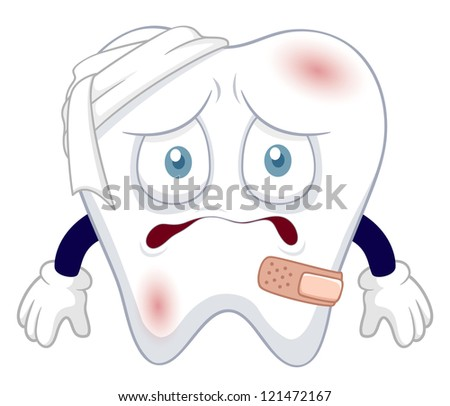 illustration of Cartoon tooth be injured