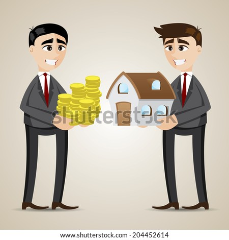 illustration of cartoon trading house among agent and businessman - stock vector