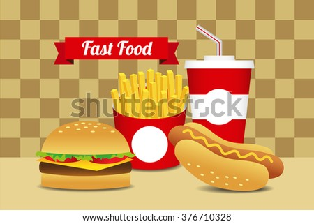 Illustration of cartoon vector fast food on the table. - stock vector