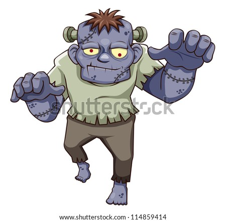 illustration of Cartoon zombie. Vector - stock vector