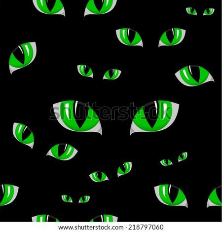 illustration of cat green eye seamless texture - stock vector
