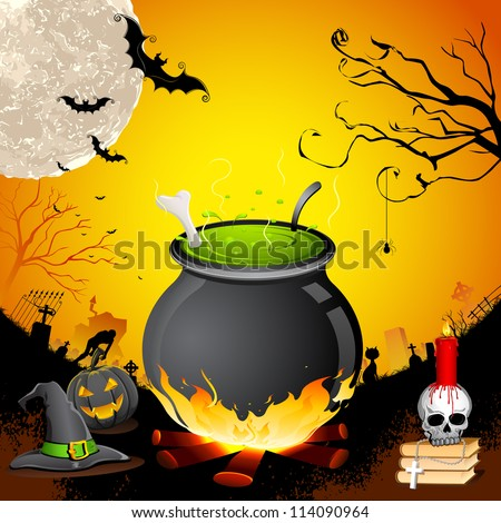 illustration of cauldron with skull in Halloween Night - stock vector