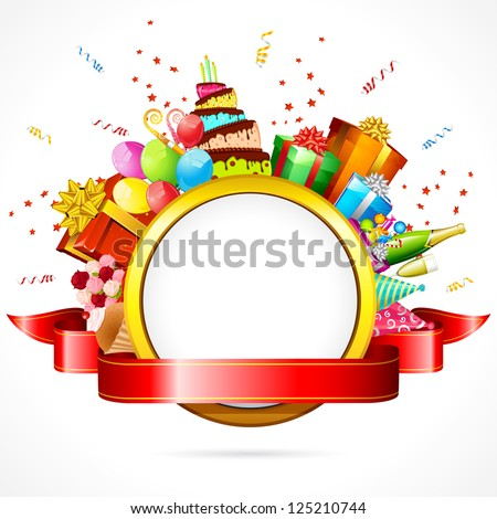 illustration of celebration card with cake,balloon and gift boxes - stock vector