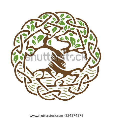 Illustration of celtic tree of life,  color version, vector illustration. - stock vector