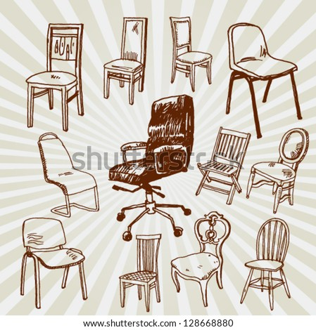 Illustration of Chairs Hand Drawn - stock vector