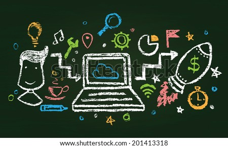 Illustration of chalked modern composition - stock vector
