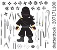 Illustration of character ninja and weapon, cartoon vector - stock vector