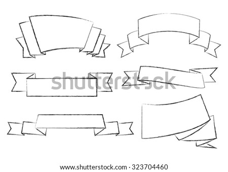 Illustration of charcoal outlines of ribbon banners in black color