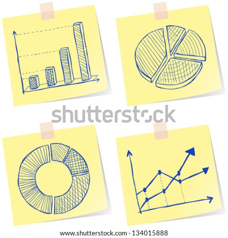 Illustration of charts sketches on yellow paper notes - stock vector