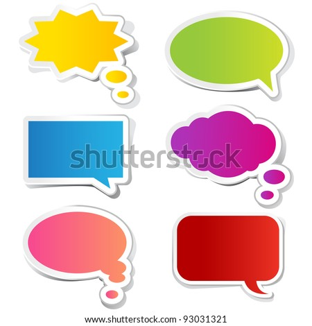 illustration of chat bubble in paper sticker style - stock vector