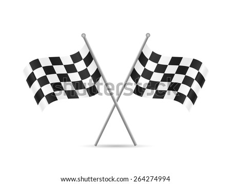 Illustration of checkered flags isolated on a white background. - stock vector