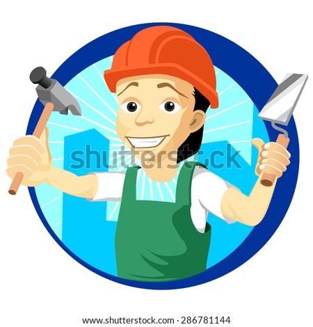Illustration of cheerful cartoon plasterer with a trowel - stock vector