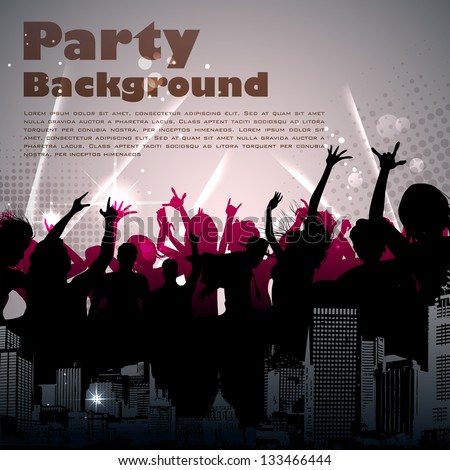 illustration of cheering crowd on sparkling musical background - stock vector