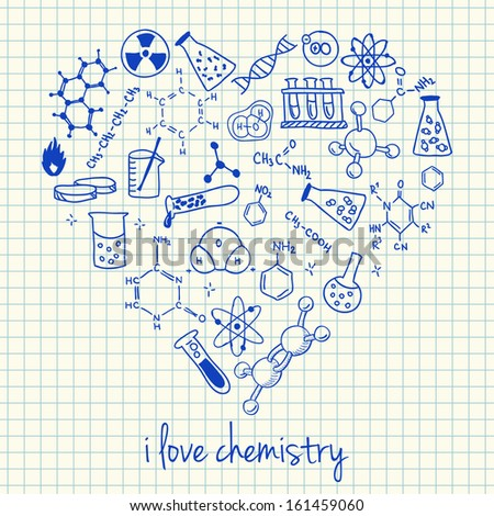 Illustration of chemistry doodles in heart shape - stock vector