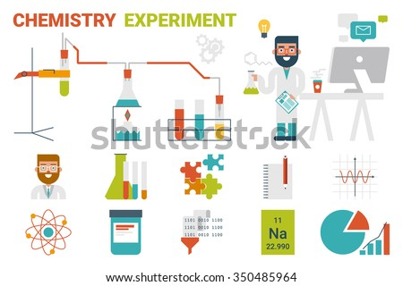 Illustration of chemistry evaporation experiment infographic concept with icons and elements