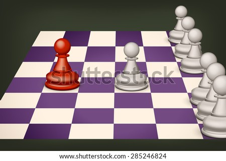 illustration of chess on violet field with some pawns - stock vector