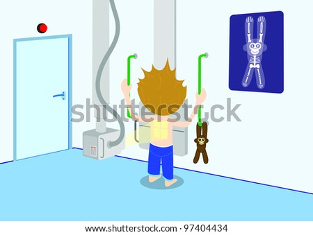 Illustration of child getting a X-ray. All vector objects and details are isolated and grouped. This illustration is a part of a story about a child in hospital. - stock vector