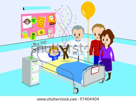 Illustration of child getting good news from a doctor in hospital. All vector objects and details are isolated and grouped. This illustration is a part of a story about a child in hospital. - stock vector