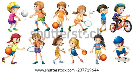 Illustration of children doing different sport - stock vector