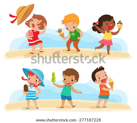 Illustration of children feeling happy with their ice cream - stock vector