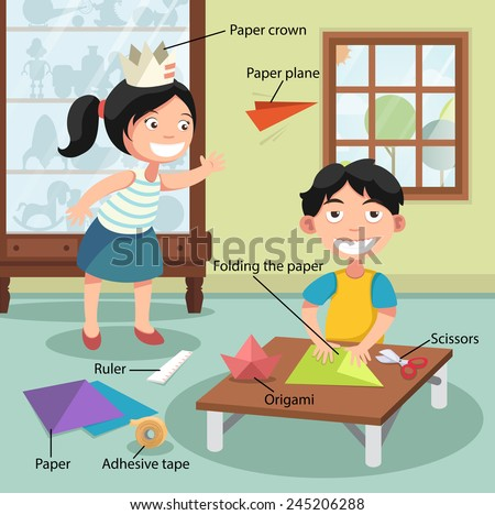 Illustration of children folding the paper, vector with vocabulary - stock vector