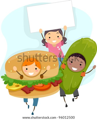 Illustration of Children in Costume (Hamburger and Pickle) with a Blank Board - stock vector