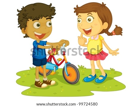Illustration of children outdoors with bike - stock vector