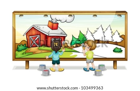 Illustration of children painting a banner