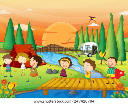 Illustration of children playing kite at the campground - stock vector