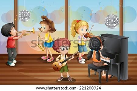 Illustration of children playing music instrument - stock vector