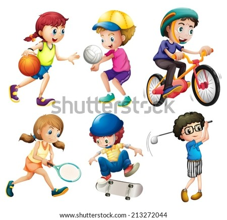 Illustration of children playing sports - stock vector