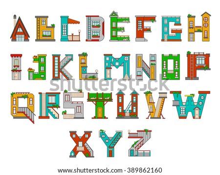 Illustration of children's alphabet. Learning learning letters in kindergarten in kindergarten. Letters isolated - stock vector