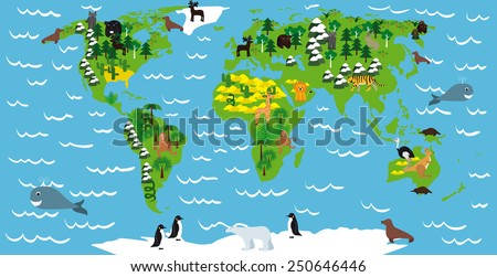 Illustration childrens maps continents oceans animals vector de illustration of childrens maps with continents oceans animals and plants gumiabroncs Image collections