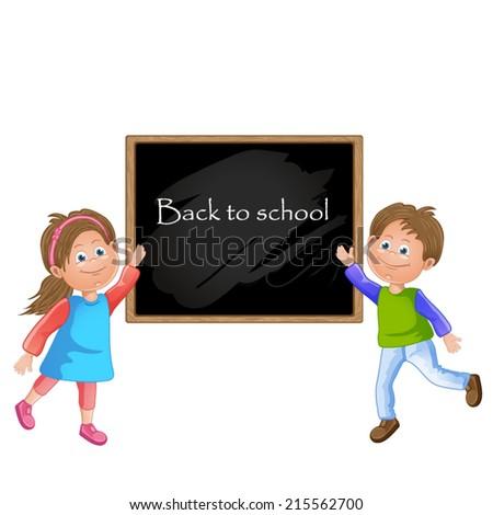 Illustration of children school and blackboard - stock vector
