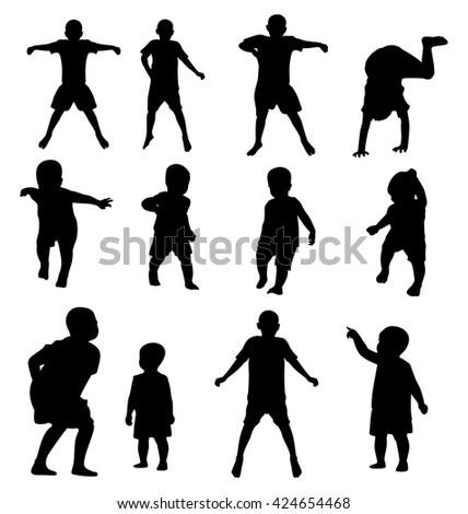 Illustration of  children silhouettes set - stock vector