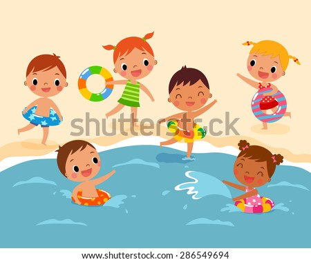 illustration of children with swim ring playing at the beach in summer time - stock vector