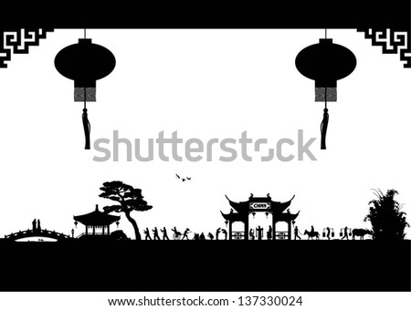 Illustration of Chinese lifestyle in China silhouette, vector - stock vector