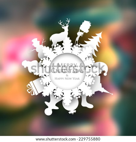 illustration of Christmas background with paper cutting decoration - stock vector