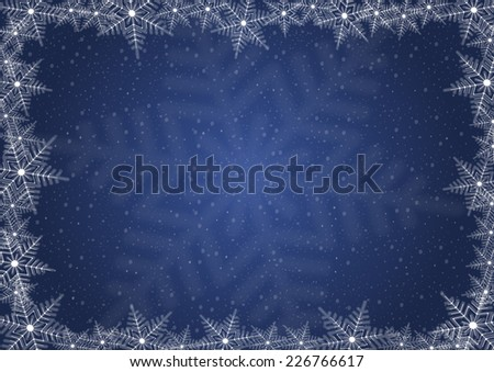 Illustration of Christmas background with snowflake frame