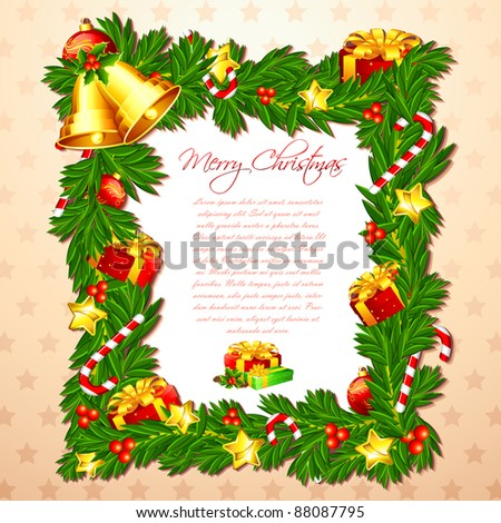 Illustration Christmas Card Decorated Frame Bell Stock Vector ...