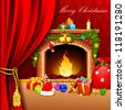 illustration of christmas decoration around fire place behind curtain - stock photo