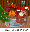 illustration of Christmas decoration around fire place, Santa Claus home, vector - stock photo