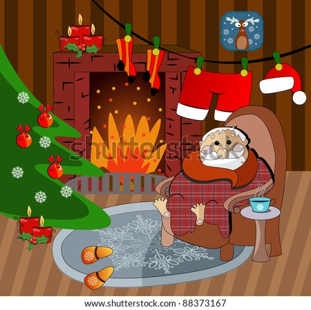 illustration of Christmas decoration around fire place, Santa Claus home, vector - stock vector
