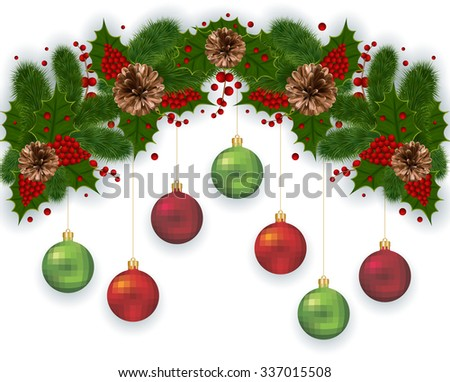 Illustration of Christmas decoration with fir tree branches, balls, mistletoe and pinecones isolated