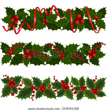 Illustration of Christmas decoration with holly leaves and berries isolated