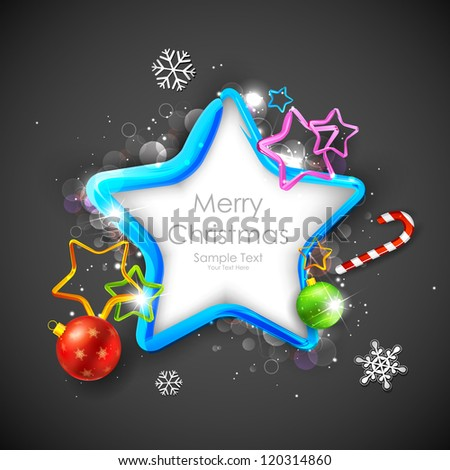 illustration of Christmas decoration with star and bauble - stock vector