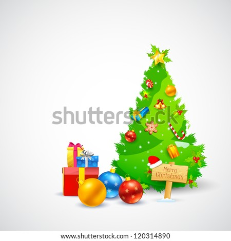 illustration of Christmas gift and decorated pine tree - stock vector