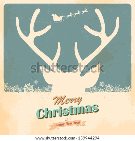 illustration of Christmas Reindeer in retro holiday background - stock vector