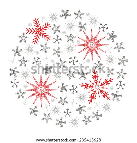 Illustration of Christmas snowflake isolated on white background. Full of small gray and four big red snowflakes - stock vector