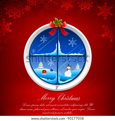 illustration of christmas snowy night through decorated window - stock vector